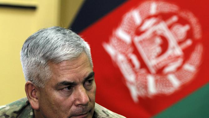 General John F. Campbell commander of international forces in Afghanistan speaks during a press conference in Kabul, Afghanistan, Saturday, May 23, 2015. Campbell said the Islamic State group is actively recruiting in Afghanistan but is not yet operational there. Campbell added that the group's sophisticated social media campaign is attracting Taliban fighters in Afghanistan and Pakistan who are disgruntled with the lack of progress in more than 10 years of fighting to overthrow the Kabul government. (AP Photo/Allauddin Khan)