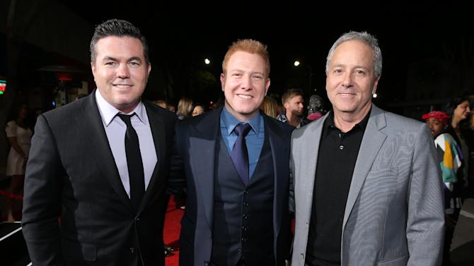 "Relativity Media's Tucker Tooley, Relativity Media's Ryan Kavanaugh and Producer David Hoberman at the LA premiere of ""21 and Over"" at the Westwood Village Theatre on Thursday, Feb. 21, 2013 in Los Angeles. (Photo by Eric Charbonneau/Invision/AP)"