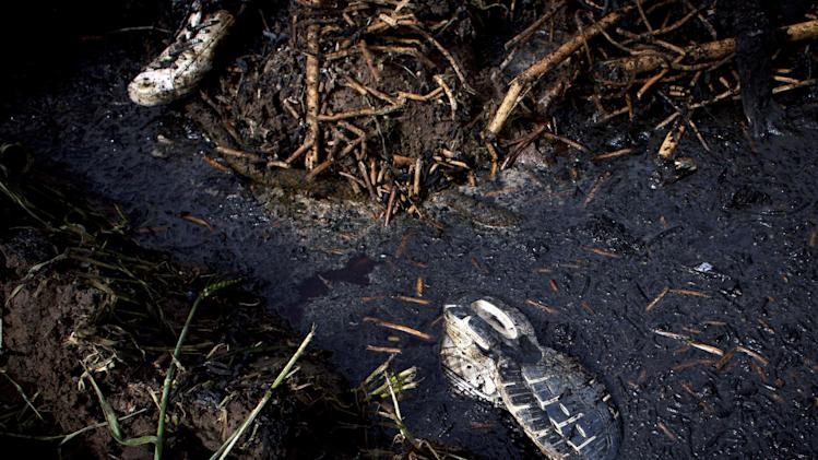 Shoes are seen near the site of the balloon accident, in Luxor, Egypt, Tuesday, Feb. 26, 2013. A hot air balloon flying over Egypt's ancient city of Luxor caught fire and crashed into a sugar cane field on Tuesday, killing at least 19 foreign tourists in one of the world's deadliest ballooning accidents and handing a new blow to Egypt's ailing tourism industry. (AP Photo/Nasser Nasser)