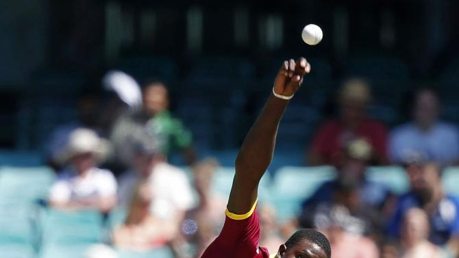 West Indies bowler Jason Holder bowls during the Cricket World Cup match against South Africa at the SCG