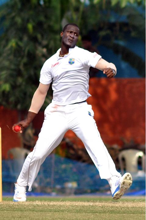West Indies player captain D Sammy in action during Day 2 of practice match between West Indies and Uttar Pradesh Cricket Association XI at the Jadavpur University Ground in Kolkata on Nov.1, 2013. (P