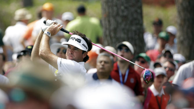 Bubba Watson tees off on the 17th hole during the second round of the Masters golf tournament Friday, April 11, 2014, in Augusta, Ga. (AP Photo/David J. Phillip)
