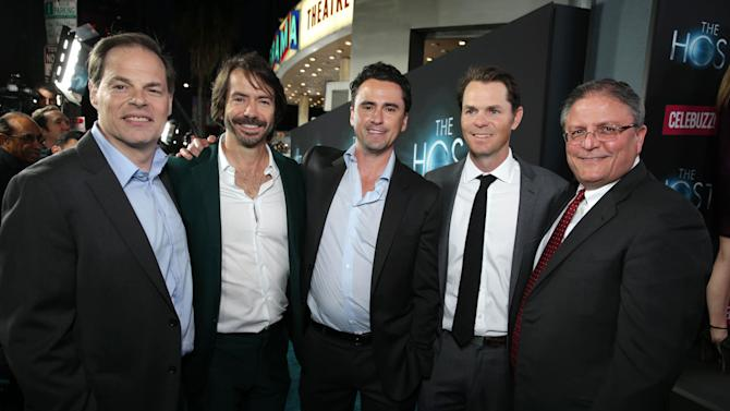 Open Road Films' Tom Ortenberg, Executive Producer Bill Johnson, Producer Jim Seibel, Open Road Film's Jason Cassidy and AMC CEO Gerry Lopez at Open Road Films Los Angeles Premiere of 'The Host' held at the ArcLight Hollywood, on Tuesday, March, 19, 2013 in Los Angeles. (Photo by Eric Charbonneau/Invision for Open Road Films/AP Images)