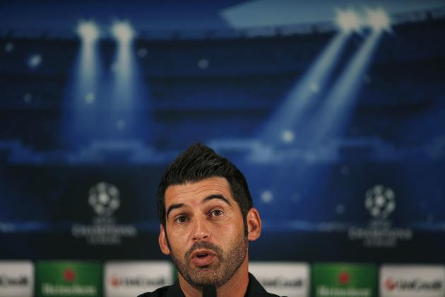 Porto's coach Paulo Fonseca answers the questions of journalists during a news conference after their training session at Dragon stadium in Porto