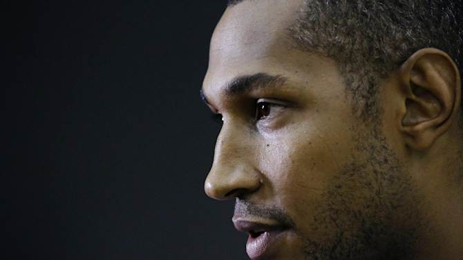San Antonio Spurs forward Boris Diaw answers a question during a media availability for the NBA basketball finals on Saturday, June 14, 2014, in San Antonio. The Spurs play Game 5 against the Miami Heat on Sunday