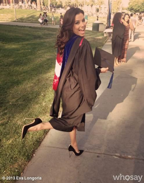 Eva Longoria seen earning her Master's Degree in Chicano Studies at Cal State University Northridge on May 22, 2013 -- Eva Longoria/WhoSay