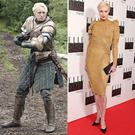 (L) Gwendoline Christie as Brienne of Tarth in &quot;Game of Thrones&quot; Season 3. (R) Gwendoline Christie attends the Elle Style Awards 2013 at The Savoy Hotel on February 11, 2013 in London, England.
