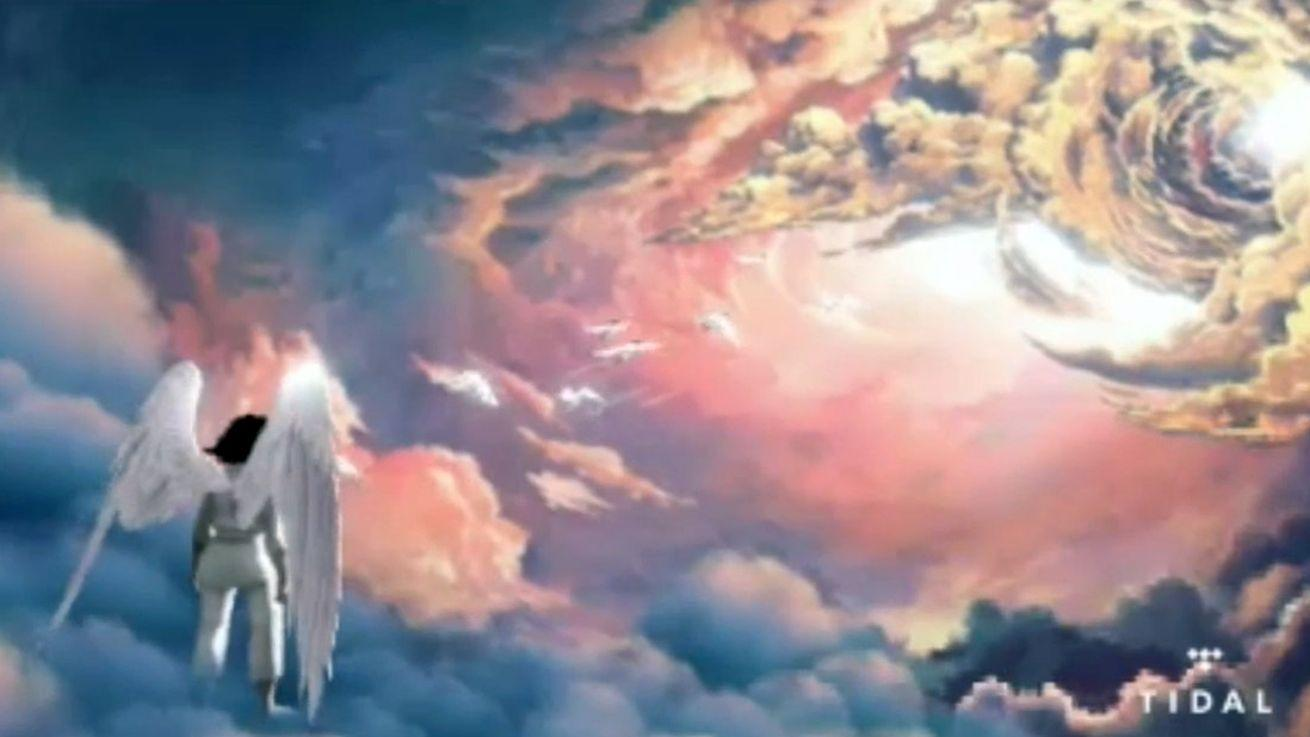 Kanye West shows his video game about his mother traveling to the gates of heaven