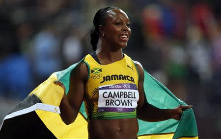 Jamaica's Veronica Campbell-Brown celebrates third place in women's 100m final at London 2012 Olympic Games