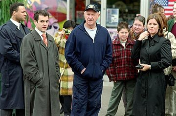 Fred Savage , Gene Hackman and Marcia Gay Harden in 20th Century Fox's Welcome to Mooseport