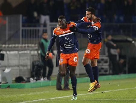 Niang of Montpellier celebrates goal against Monaco during French Ligue 1 soccer match in Montpellier