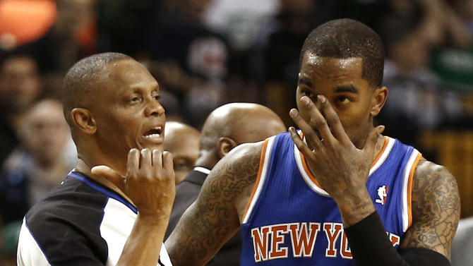 New York Knicks' J.R. Smith is ejected from the game after fouling Boston Celtics' Jason Terry during the fourth quarter of New York's 90-76 win in Game 3 of a first round NBA basketball playoff series in Boston Friday, April 26, 2013. (AP Photo/Winslow Townson)