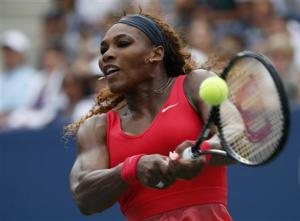 Serena Williams of the U.S. returns to compatriot Stephens at the U.S. Open tennis championships in New York