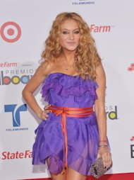 MIAMI, FL - APRIL 26:  Paulina Rubio arrives at the Billboard Latin Music Awards 2012  at Bank United Center on April 26, 2012 in Miami, Florida.  (Photo by Rodrigo Varela/Getty Images)