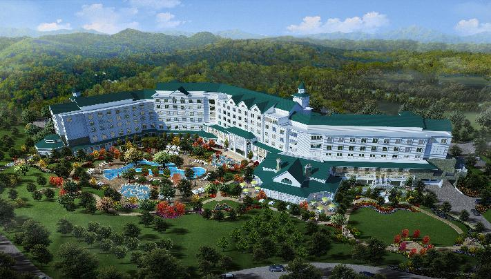 This artist rendering released by Dollywood shows a version of a proposed hotel with an outdoor pool planned for in the Smoky Mountains in Pigeon Forge, Tenn. The park plans to open DreamMore Resort in 2015. It's part of a planned $300 million expansion to take place over the next decade. (AP Photo/Dollywood)