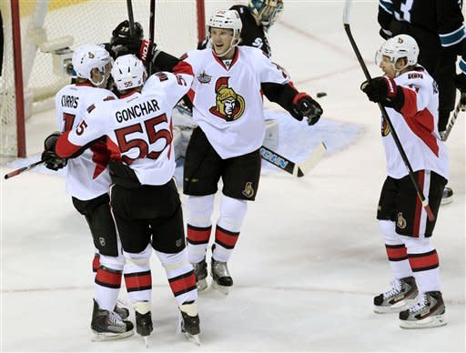 Greening scores twice in Senators' 4-1 win