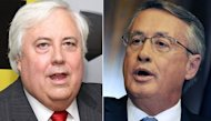 Billionaire mining magnate Clive Palmer (left) and Australian Treasurer Wayne Swan. Palmer has said he will run against Swan in national elections, escalating a fiery war-of-words between the government and the outspoken mogul