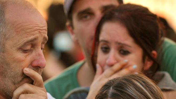 Relatives of victims react as they wait for news near the Kiss nightclub in Santa Maria city, Rio Grande do Sul state, Brazil, Sunday, Jan. 27, 2013. According to police, more than 200 died in the devastating nightclub fire in southern Brazil. Officials say the fire broke out at the club while a band was performing. (AP Photo/Agencia RBS, Ronald Mendes)