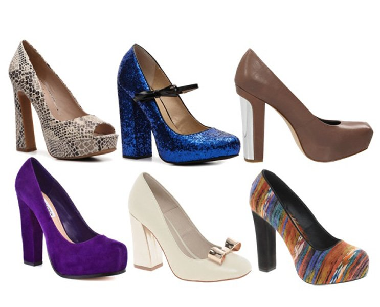 Choose chunky-heeled pumps over spindly stilettos. Your legs will look smaller in proportion. Clockwise from left: DSW, $80; DSW, $60; Zappos, $96; Asos, $79; Asos, $97; Steve Madden, $100.