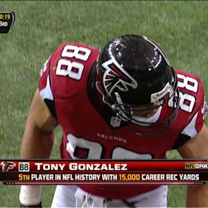 Atlanta Falcons tight end Tony Gonzalez reaches receiving milestone