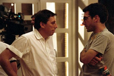 Executive producer Ivan Reitman confers with director Todd Phillips on the set of Dreamworks' comedy Road Trip