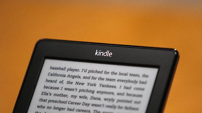 A Kindle reading device is seen at a press conference on September 6, 2012 in Santa Monica, California
