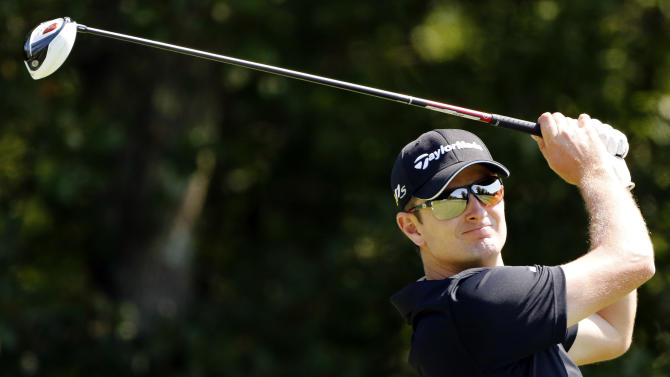 Justin Rose, of South Africa, tees off on the fourth hole during the Pro Am round of the Deutsche Bank Championship golf tournament at TPC Boston in Norton, Mass., Thursday, Aug. 30, 2012. (AP Photo/Michael Dwyer)