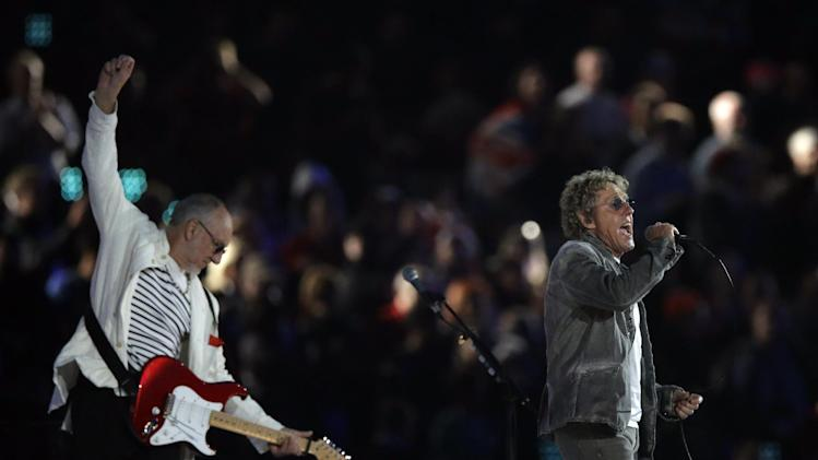 The Who guitarist Pete Townsend, left, and singer Roger Daltrey perform during the Closing Ceremony at the 2012 Summer Olympics, Monday, Aug. 13, 2012, in London. (AP Photo/Matt Slocum)
