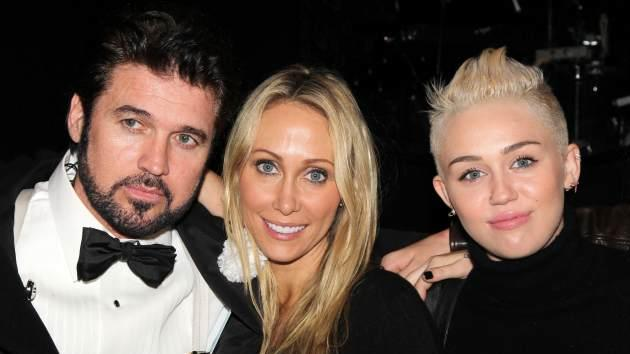 Billy Ray Cyrus, Tish Cyrus and Miley Cyrus -- Getty Premium