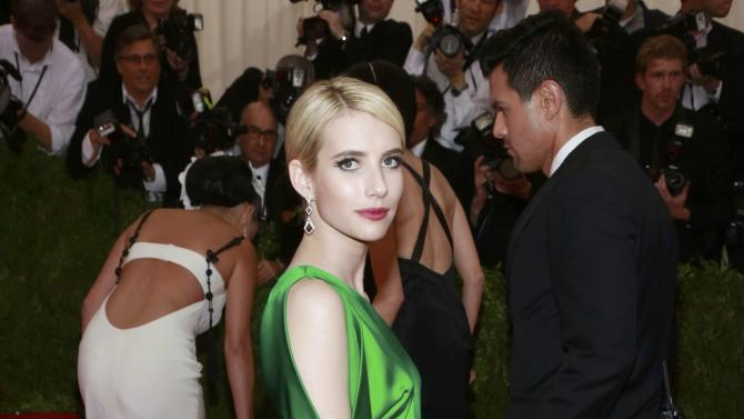 "U.S. actress Emma Roberts arrives for the Metropolitan Museum of Art Costume Institute Gala 2015 celebrating the opening of ""China: Through the Looking Glass,"" in Manhattan"