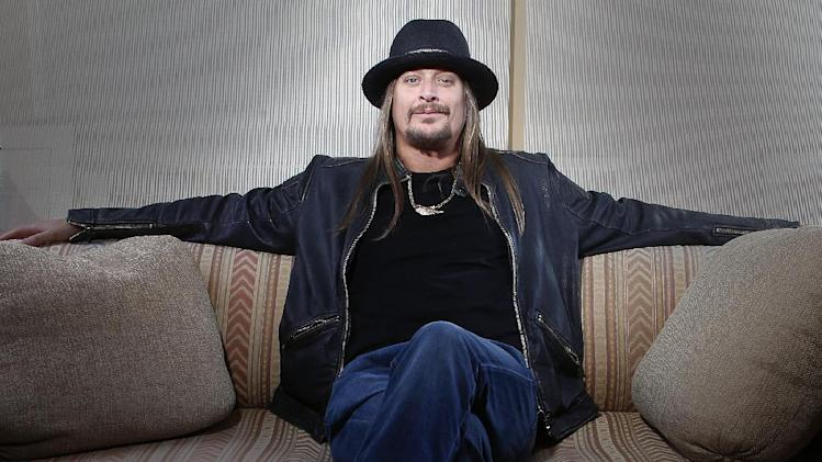"FILE - This Nov. 14, 2012 file photo shows Grammy-award winning artist  Kid Rock posing for a portrait in New York. Kid Rock's ""$20 Best Night Never Tour"" kicks off June 28 in Bristow, Va., and opening acts include ZZ Top, Uncle Kracker and Kool and the Gang. (Photo by Carlo Allegri/Invision/AP, file)"