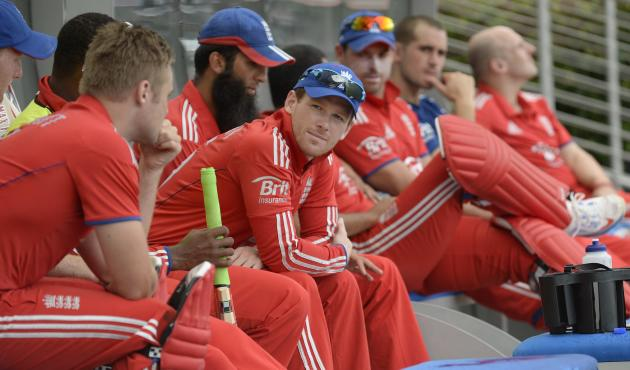 England's Morgan looks on during a rain break in their second T20 international cricket match against the West Indies' in Barbados