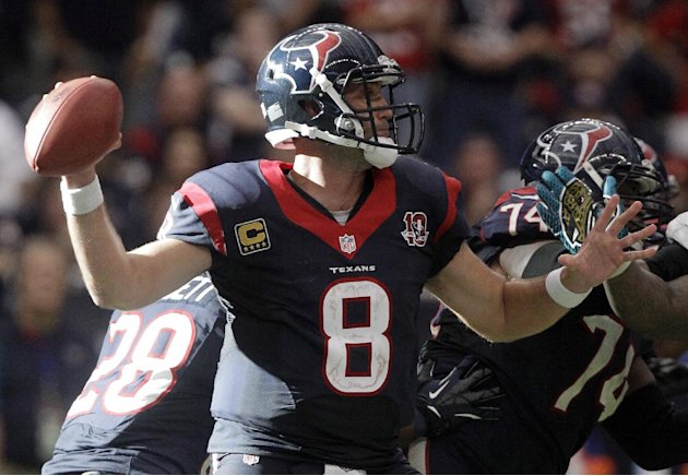 Houston Texans quarterback Matt Schaub throws a pass against the Jacksonville Jaguars in overtime at an NFL football game on Sunday, Nov. 18, 2012, in Houston. The Texans won 43-37. (AP Photo/Patric S