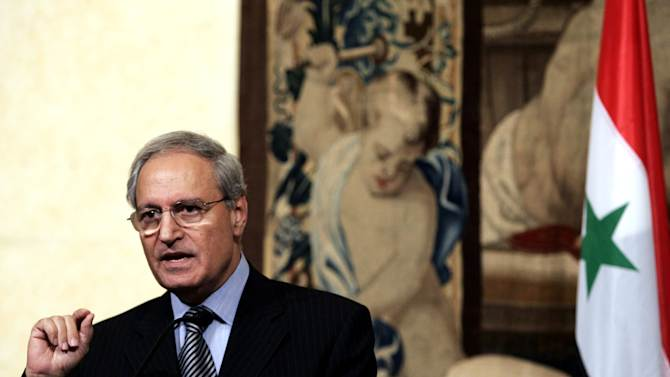 FILE - In this Thursday, Sept. 6, 2007 file photo, Syrian Vice President Farouk al-Sharaa talks to journalists during a joint press conference with Italian Premier Romano Prodi at Chigi palace, in Rome. Syria's longtime vice president said the army cannot defeat the rebels fighting to topple the regime, the first admission by a top government official that a victory by President Bashar Assad is unlikely. (AP Photo/Gregorio Borgia, File)