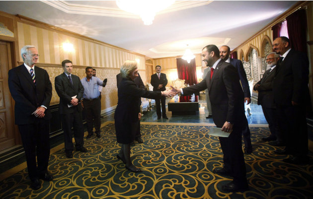 Newly appointed U.S. Ambassador to Libya Jones shakes hands with Second Deputy President of the Libyan General National Congress Makhzoum in Tripoli