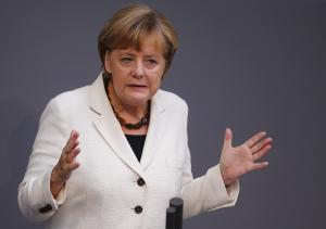 German Chancellor Merkel speaks during the budget debate …