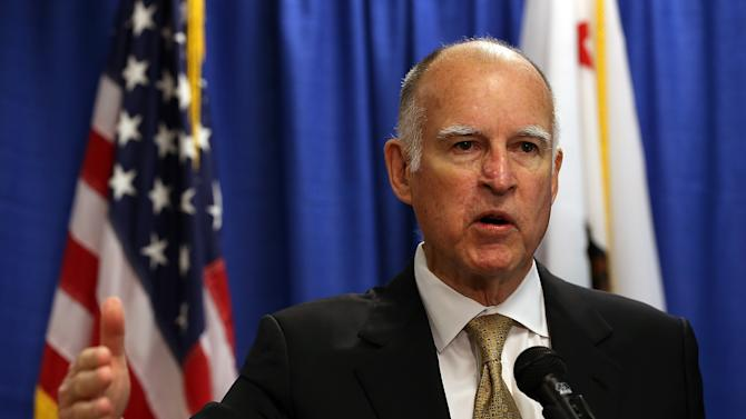 California governor Jerry Brown speaks during a press conference in San Francisco, California, on January 17, 2014