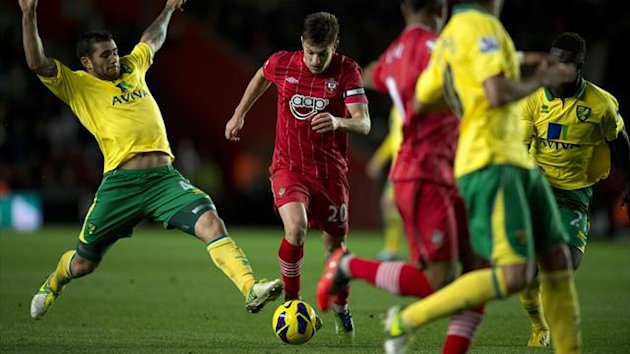 Norwich City&#39;s English midfielder Bradley Johnson (L) vies for the ball against Southampton&#39;s English midfielder Adam Lallana (R) during the English Premier League football match between Southampton and Norwich City at St Mary&#39;s Stadium