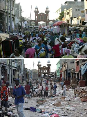 These images show downtown Port-au-Prince, on December …