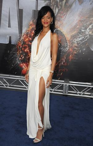 Rihanna arrives at the Los Angeles premiere of 'Battleship' at Nokia Theatre L.A. Live, Los Angeles, on May 10, 2012 -- WireImage