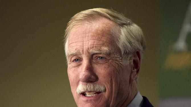 FILE - In a Wednesday, Nov. 7, 2012 file photo, Independent Senator-elect Angus King speaks at a news conference, in Freeport, Maine. King says he's reluctant to endorse a federal ban on the kind of assault weapon used in last month's Connecticut school shooting.  The newly-elected senator, an independent, told the Associated Press on Thursday, Jan. 17, 2013 that he supports universal background checks and limits on high-capacity ammunition clips as proposed this week by President Barack Obama. But King says he hasn't decided whether to embrace a ban on new assault weapons.  (AP Photo/J. Scott Applewhite, File)  (AP Photo/Robert F. Bukaty)