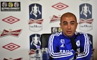 Chelsea's interim manager Roberto Di Matteo at a press conference ahead of the FA Cup football final against Liverpool on May 4. The Blues' hopes of a top-four finish were dealt a severe blow on Wednesday after a 2-0 defeat at home to Newcastle United that left Di Matteo's men four points off the Champions League places with only two games left