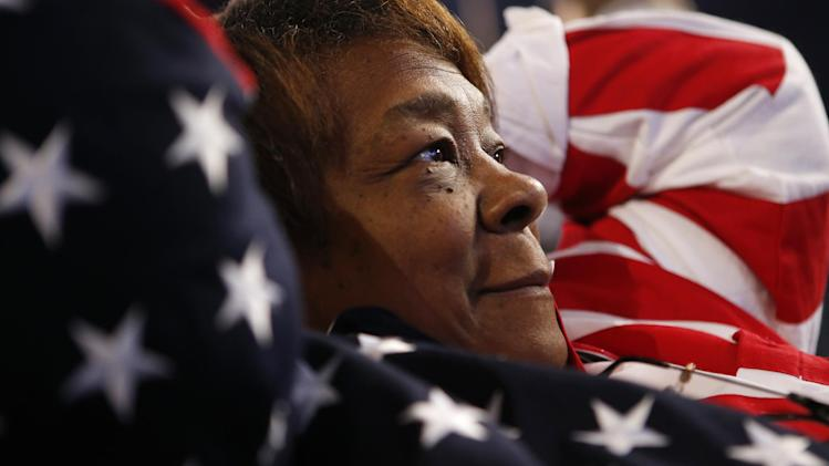 Iowa delegate Alice Boyd wears an American flag themed outfit at the Democratic National Convention in Charlotte, N.C., on Thursday, Sept. 6, 2012. (AP Photo/Jae C. Hong)