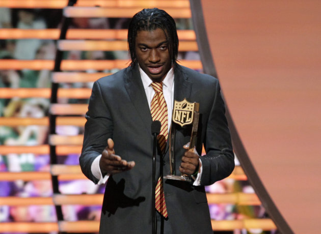 Robert Griffin III of the Washington Redskins accepts the award for AP Offensive Rookie of the Year presented by Pepsi Max at the 2nd Annual NFL Honors on Saturday, Feb. 2, 2013 in New Orleans. (Photo