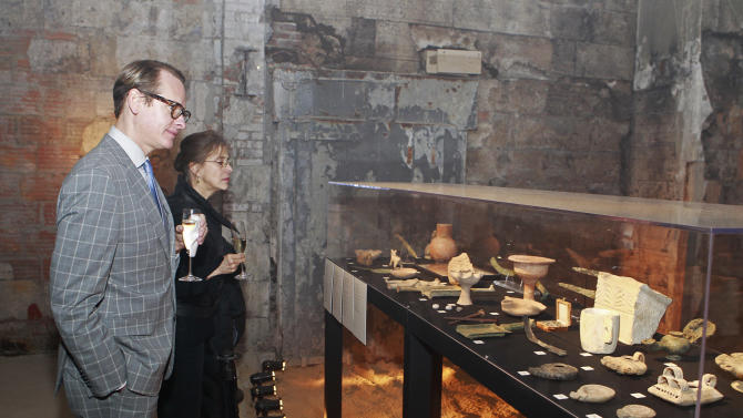 Carson Kressley  views one of the exhibits at the celebration of theApril 2Blu-ray, DVD, and Digital HD releaseof THE BIBLEfrom Twentieth Century Fox Home Entertainment  during The Bible Experience opening night gala, a rare exhibit of biblical artifacts on Tuesday, March 19 in New York. (Photo by Mark Von Holden/Invision for Fox Home Entertainment/AP Images)
