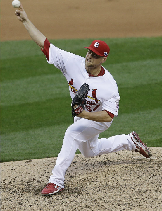 St. Louis Cardinals relief pitcher Trevor Rosenthal (64) works during the sixth inning of Game 3 of baseball's National League championship series against the San Francisco Giants, Wednesday, Oct. 17,