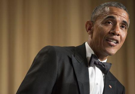 U.S. President Barack Obama pokes fun at the media during the 2015 White House Correspondents' Association Dinner