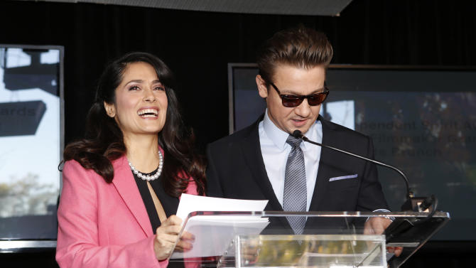 Salma Hayek and Jeremy Renner host the Film Independent Spirit Awards Luncheon at BOA Steakhouse on Saturday, Jan. 12, 2013, in West Hollywood, Calif. (Photo by Todd Williamson/Invision/AP)