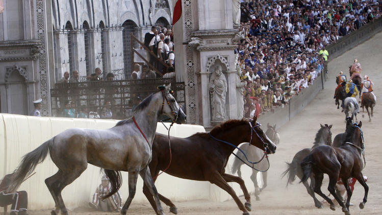 Horses continue running after losing they riders during the Madonna dell'Assunta (Virgin of the Assumption) ancient Palio, the famous break-neck bareback horse race run in the main square in Siena , Italy, Thursday, Aug. 16, 2012. (AP Photo/Paolo Lazzeroni)