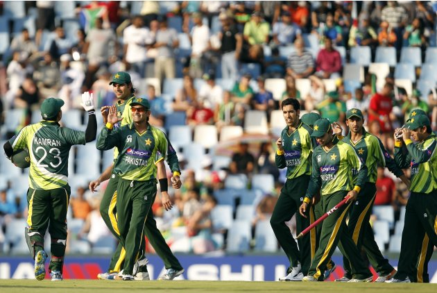 Pakistan players celebrate winning their Twenty20 cricket match against South Africa at Centurion in Pretoria